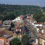 A view of Croydon Rd Caterham Valley from St Johns Tower in 2005, taken by Robert Warner